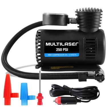 Mini Compressor Ar Automotivo Multiuso 12V 250 PSI Manômetro 3 Bicos Pneu Bola Multilaser AU601