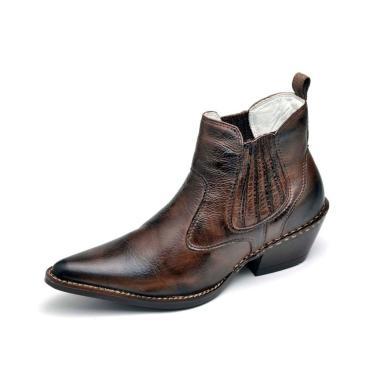 Bota Country Masculina Bico Fino Top Franca Shoes Marrom  masculino