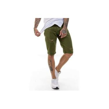 Bermuda Jeans Masculina Destroyed Verde Militar OFFERT