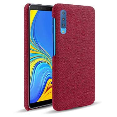 """YINCANG Galaxy A7 (2018) Capa, Capa Elegante para Celular Feita Tecido Feltro Alta Qualidade [Proteção da Câmera] Adequada para Samsung Galaxy A7 (2018) 6.0"""" - Vermelho"""