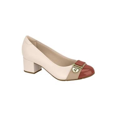 Sapato Modare Salto Baixo Napa Verniz Creme/Blush/Bege/Blush - 7316134
