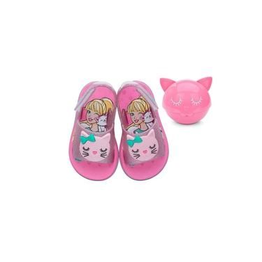 Sandalia Baby Barbie Fashion Cat 22150 Grendene - Rosa/rosa Glitter