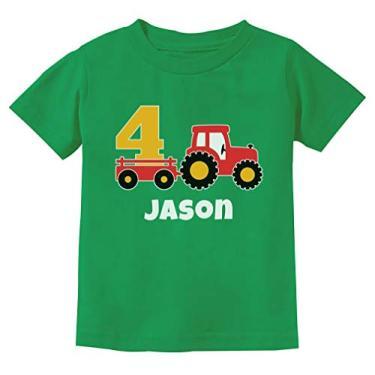Camiseta infantil infantil personalizada para meninos de 4º aniversário Tractor Construction Party, Verde, 5/6