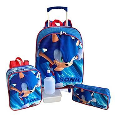 Imagem de Kit Mochila Infantil Escolar Sonic Rodinhas Tam M F5 Meninos