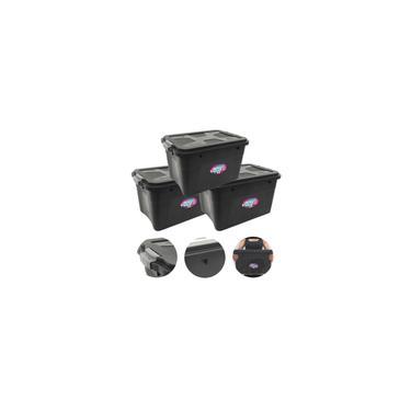 Imagem de Caixa Organizadora Preta Multiuso Plástica 30 Litros Kit 3 Peças