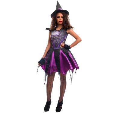 Imagem de Fantasia de Bruxa Angeline Roxa Halloween Adulto