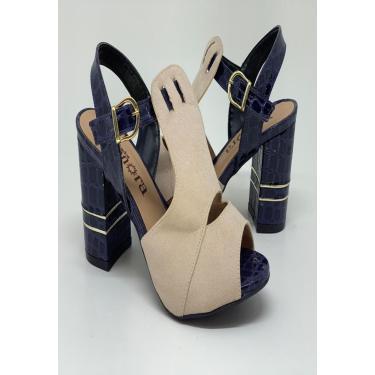 Sandalia Salto Grosso - marinho com marfim  feminino