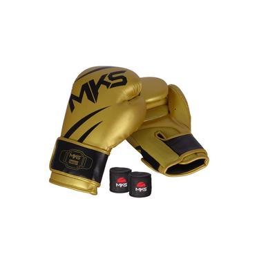 Kit Luva Mks Champions V3 Dourado/preto Bandagem 2,55m 10 Oz