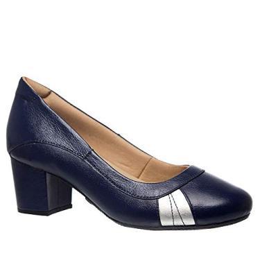 Sapato Feminino 279 em Couro Petróleo/Petróleo/Prata Doctor Shoes-Azul-39