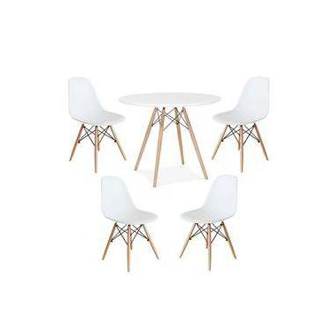 Imagem de Conjunto Kit Mesa Jantar Eiffel 80cm + 4 Cadeiras Eiffel Goede Cor Branco