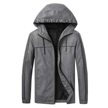 Jaqueta masculina CRYYU de couro PU outono inverno slim fit casaco de moletom com zíper e couro PU, Cinza, X-Small