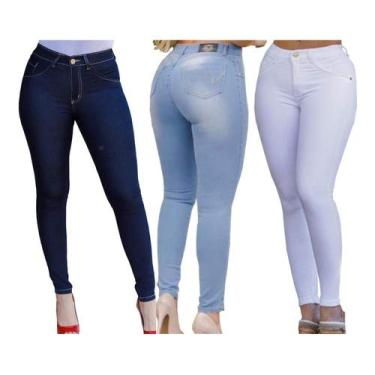 Kit 3 Calça Jeans Feminina Capri Cintura Alta Cós Skinny (AZUL ESCURO, AZUL CLARO, BRANCO, 38)