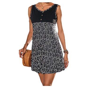 Vestido de festa feminino com estampa de leopardo verão com decote em V e cores vibrantes da Comaba, Cinza, Medium