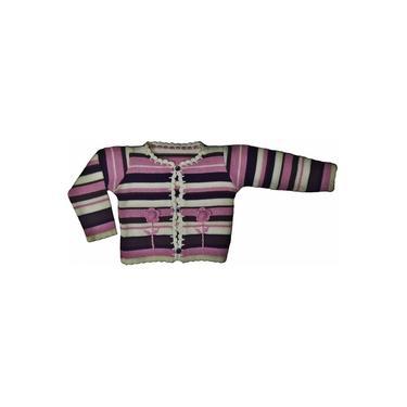 Blusa de Lã Infantil Flores Lilás