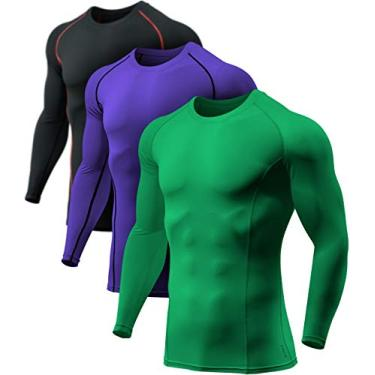Camisa masculina de compressão de manga comprida com modelagem seca e descolada, camiseta esportiva com camada de base esportiva, camisa para treino atlético, pacote com 3 (bls01) - preto e vermelho/selva/roxo, 2GG