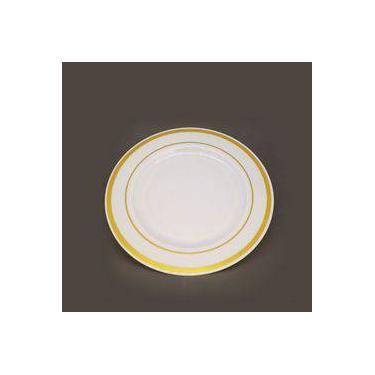 Prato Sobremesa Branco Com Borda Dourada Descartável Premium 06 Unidades Silverplastic