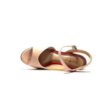 Sandália ramarim verniz salto médio - nude e vermelha