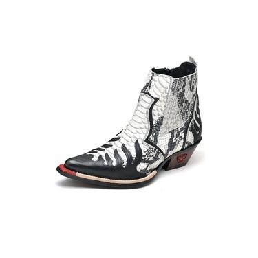 Bota Country Masculina Bico Fino Western Couro Legitimo Detalhe Cobra Fakcini - 3011 - Gelo