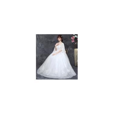 Imagem de Vestido longo branco de noiva Textura de bordado A02