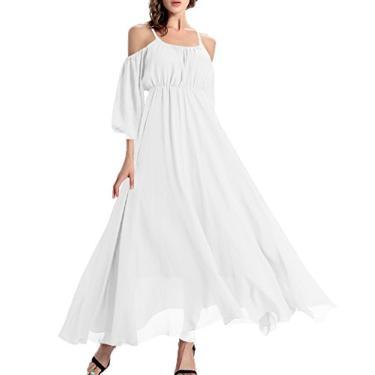 Imagem de Afibi vestido de chiffon longo feminino casual ombro a ombro vestido maxi para noite, Branco, 3X-Large