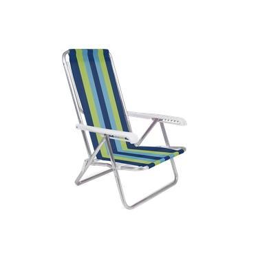 Cadeira De Praia Reclinável 8 Posições Listrada Alumínio - Mor