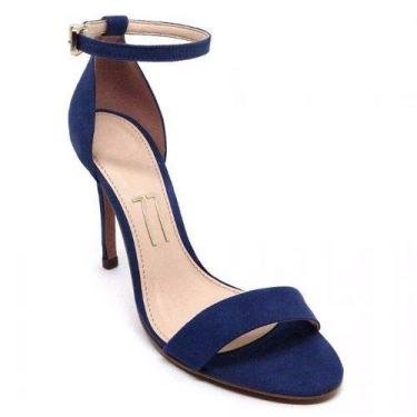 - Sandália Azul Escuro Camurça Sued Salto Fino Alto Fechada