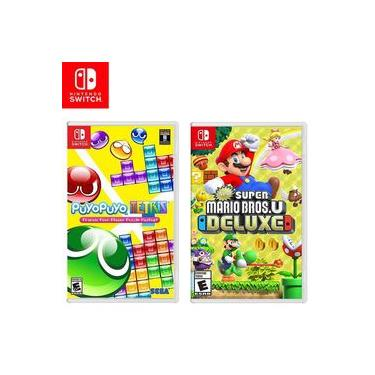 Kit Jogos Switch Puyo Puyo Tetris e New Super Mario Bros U Deluxe Novo