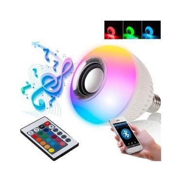 LÂMPADA Musical Caixa de Som Bluetooth RGBW Leds Coloridos e CONTROLE REMOTO