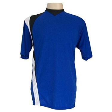 Jogo de Camisa com 14 unidades modelo PSG Royal/Preto/Branco + 1 Goleiro + Brindes