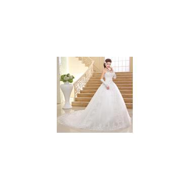 Imagem de Vestido longo cauda branco de noiva Tubo superior Alto conforto bordado K04