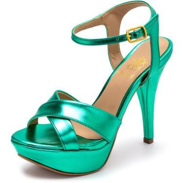 Sandália Tamanco Plataforma Especial Salto Alto Fino Em Verde Metalizado  feminino