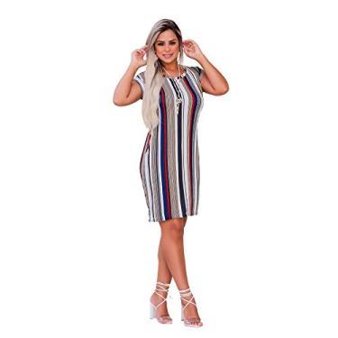Vestido Feminino Midi Soltinho Moda Com Bolso Listrado (G, Estampa 02) - L138