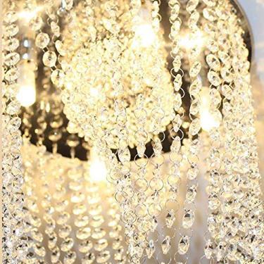 Lustre de Cristal Original Véu de Noiva Redondo Ø30cm com Base Inox para 4 Lâmpadas G9