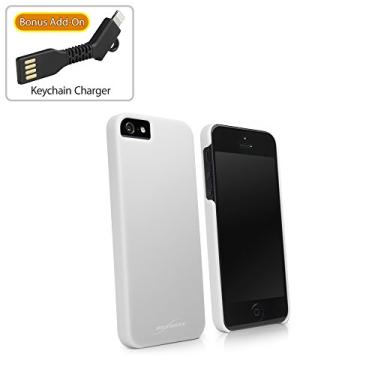 Capa para iPhone SE, BoxWave [Capa mínima com carregador de chaveiro] Slim Fit, capa protetora de policarbonato para Apple iPhone SE, 5s, 5 - Branco de inverno