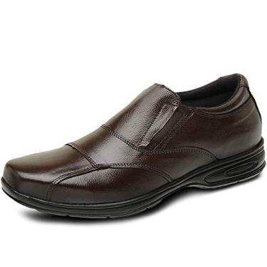 Sapato Masculino Social Pierrô conforto couro marrom com recortes (39)