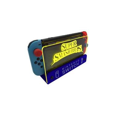 Suporte Bancada/Parede Nintendo Switch Iluminado - Smash Bros - Base Azul LED Amarelo