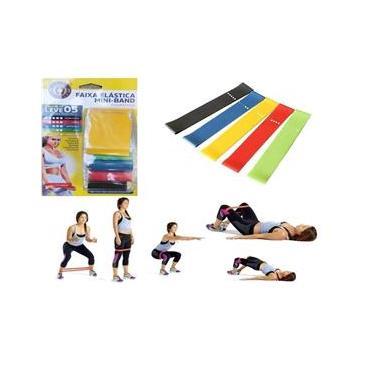 Kit Mini Band Faixa Elástica 5 Intensidade Pilates Funcional