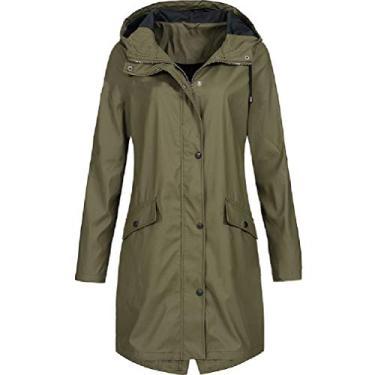 CRYYU Casaco de moletom feminino para uso ao ar livre outono inverno plus size jaqueta corta-vento, Verde, X-Large