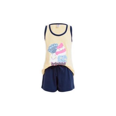 Pijama Short Doll Regata Sorvetinho Bebê Menina Luna Cuore Rosa / natural
