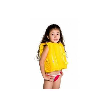 Boia Tipo Colete Salva-Vidas Infantil Inflável Amarelo - Mor