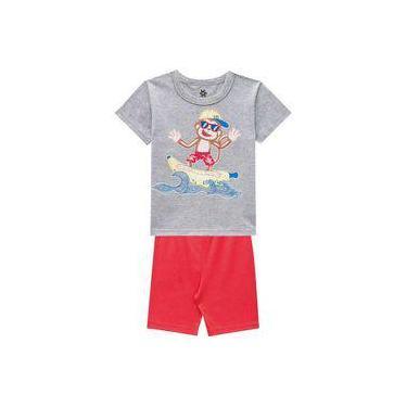 Pijama Infantil Menino Camiseta E Bermuda Cheirinho De Infância Cinza-4