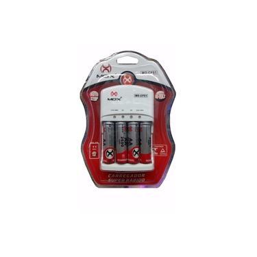 Carregador de Pilhas Recarregável MOX Com 4 Pilhas AA AAA e 9V Recarregáveis 2600mAh 110/220V Bi-Volt