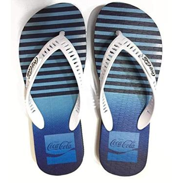Chinelo Masculino Coca Cola Shoes Jacket Marinho Branco CC2880