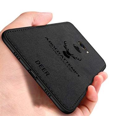 EUDTH Capa para Xiaomi Mi Mix 2, capa traseira ultrafina com estampa de veado híbrida, textura de tecido, TPU macio e à prova de choque, capa protetora para Xiaomi Mi Mix 2 - preta