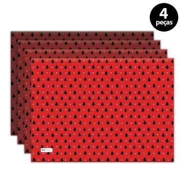 Imagem de Jogo Americano Mdecore Natal Arvore de Natal 40x28 cm Vermelho 4pçs