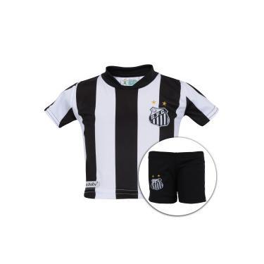 Kit de Uniforme de Futebol do Santos para Bebê  Camisa + Calção - Infantil - e9194cfc52b97
