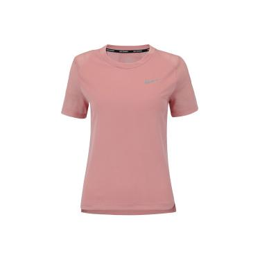 337e362216 Camiseta Nike Miler SS - Feminina - Rosa Cinza Cla Nike