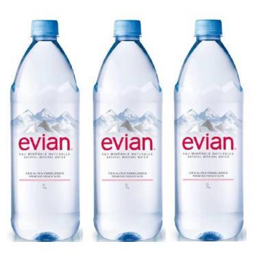 Água Mineral Evian Sem Gás 1 Lt 03 Unidades