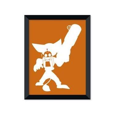 Poster de Ratchet e Clank Laranja Com Moldura - Branco