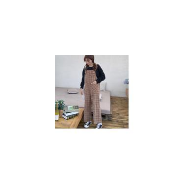 Calças suspensas da moda xadrez calças largas para meninas com bolsos calças de pernas largas